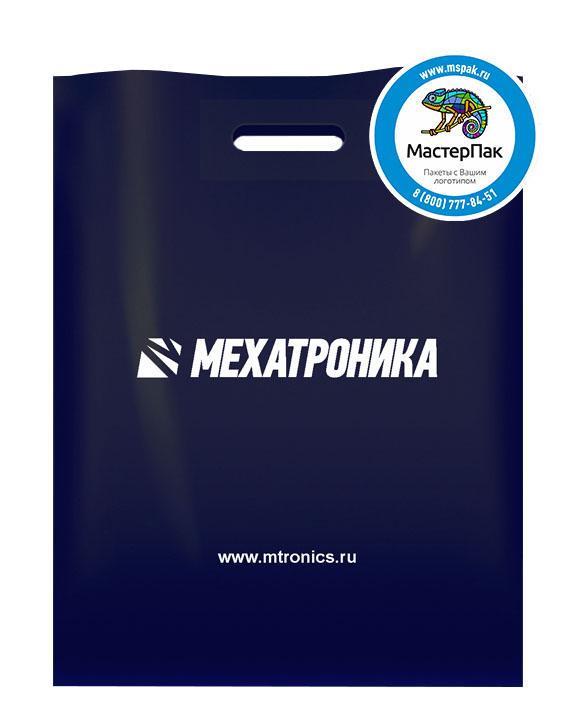 ПВД пакет, 38*50, толщина 70 мкм, с вырубной ручкой и логотипом Мехатроника
