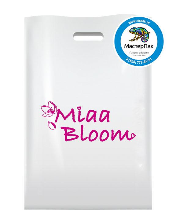 ПВД пакет, 22,5*34, толщина 70 мкм, с вырубной ручкой и логотипом Miaa Bloom