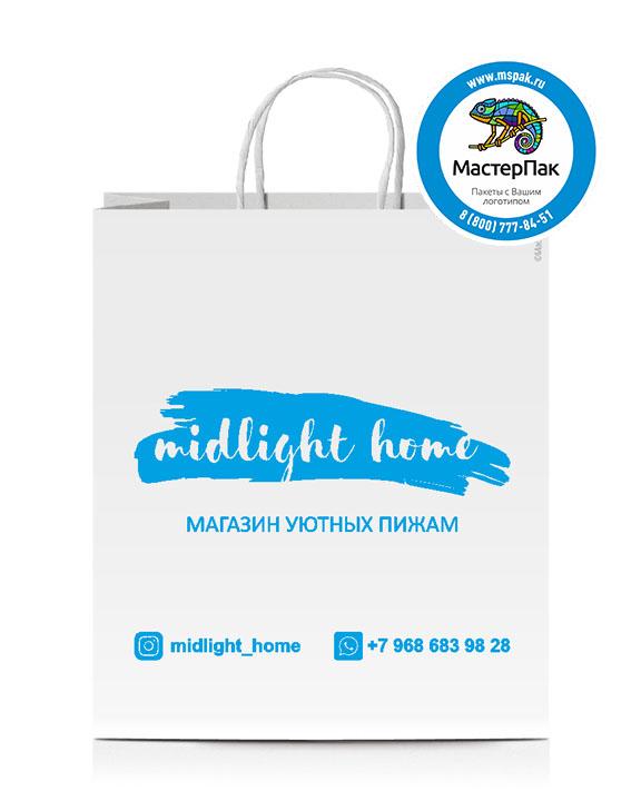 Пакет крафтовый, 25*22*12, 120 гр., крученые ручки, с логотипом Midlight Home