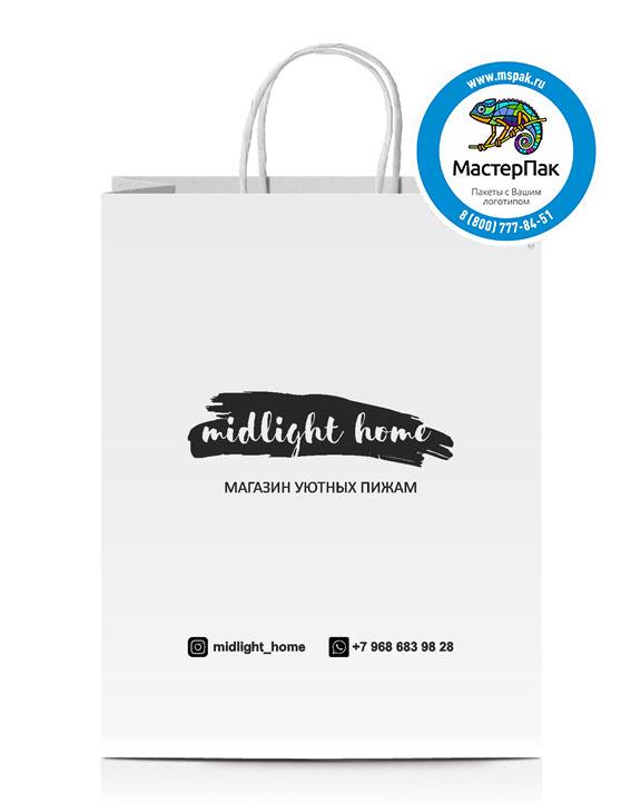 Пакет крафтовый, 45*15*35, 90 гр., крученые ручки, с логотипом Midlight Home