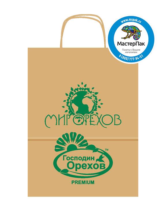 Пакет крафтовый, 35*26*15, 78 гр., крученые ручки, с логотипом Мир Орехов