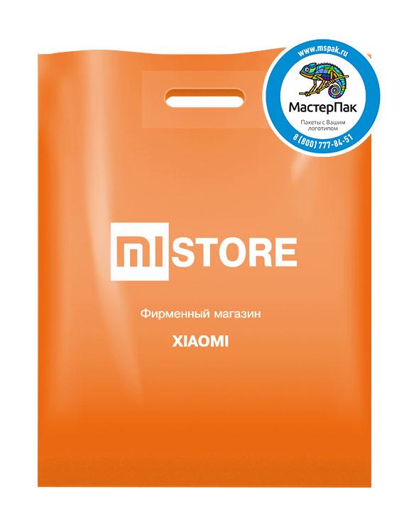 ПВД пакет, 30*40, толщина 70 мкм, с вырубной ручкой и логотипом MI STORE