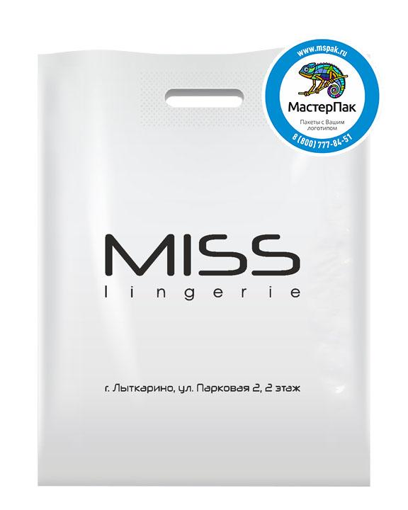 ПВД пакет, 36*45, толщина 70 мкм, с вырубной ручкой и логотипом MISS lingerie
