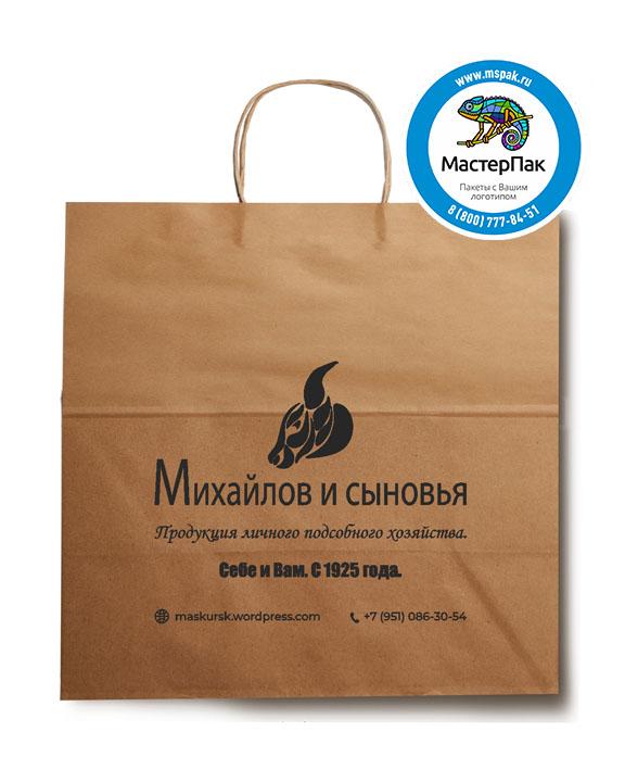 Пакет крафтовый, 35*20*34,5, 90 гр., крученые ручки, с логотипом Михайлов и Сыновья