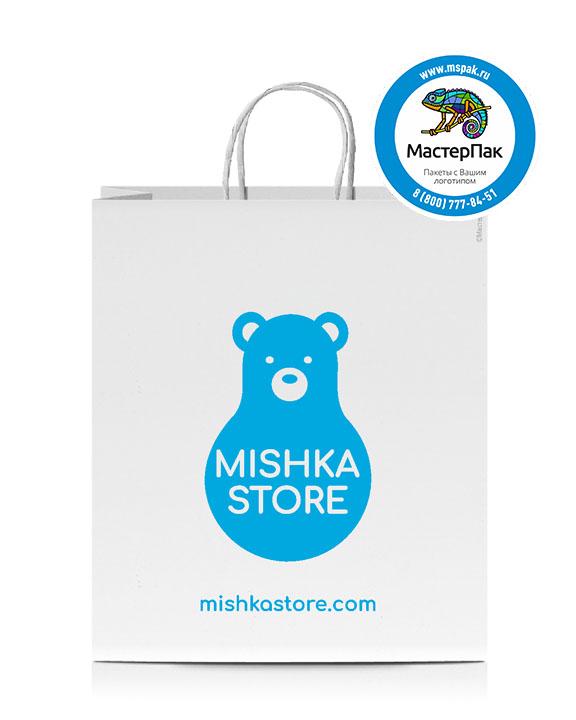 Пакет крафтовый, 32*18*37, 100 гр., крученые ручки, с логотипом Mishka Store