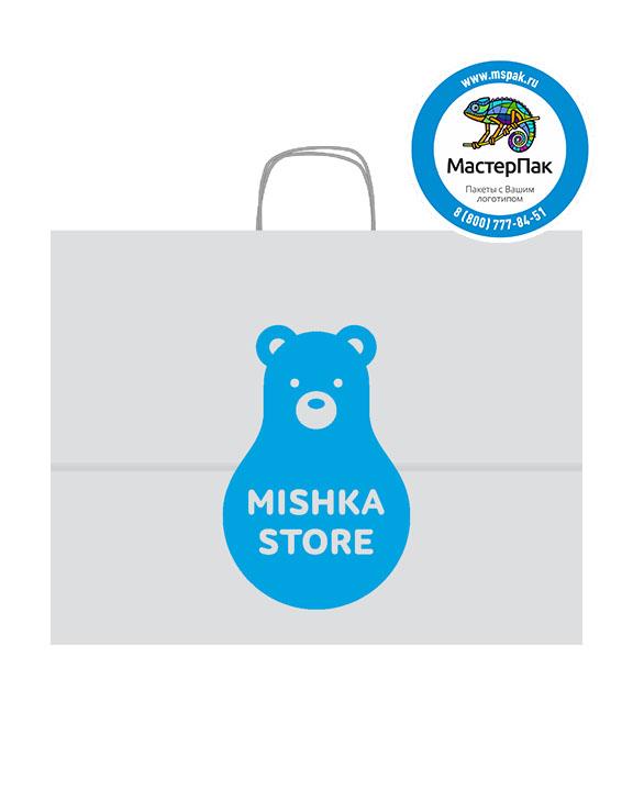 Пакет крафтовый, 45*15*35, 80 гр., крученые ручки, с логотипом Mishka Store