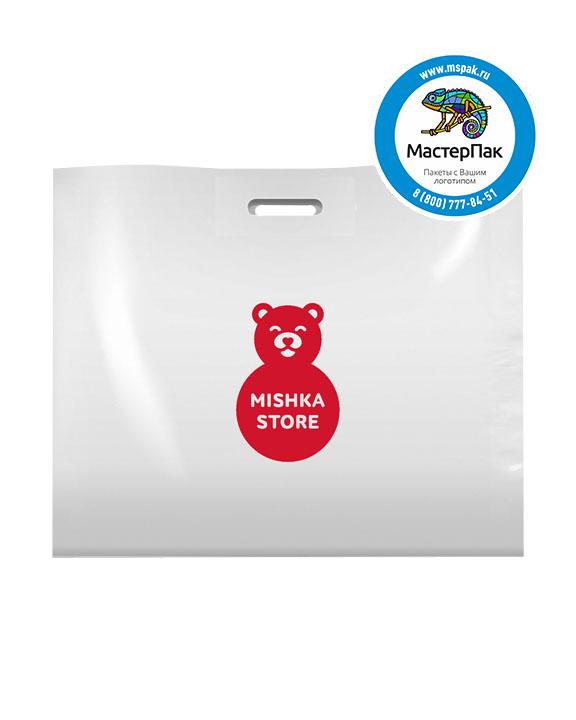 ПВД пакет, 70*50, толщина 70 мкм, с вырубной ручкой и логотипом MISHKA Store