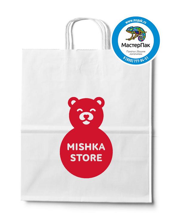 Пакет крафтовый, 32*20*37, 80 гр., крученые ручки, с логотипом Mishka Store