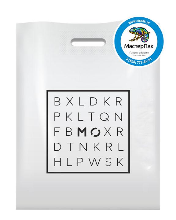 ПВД пакет, 30*40, толщина 70 мкм, с вырубной ручкой и логотипом буквы