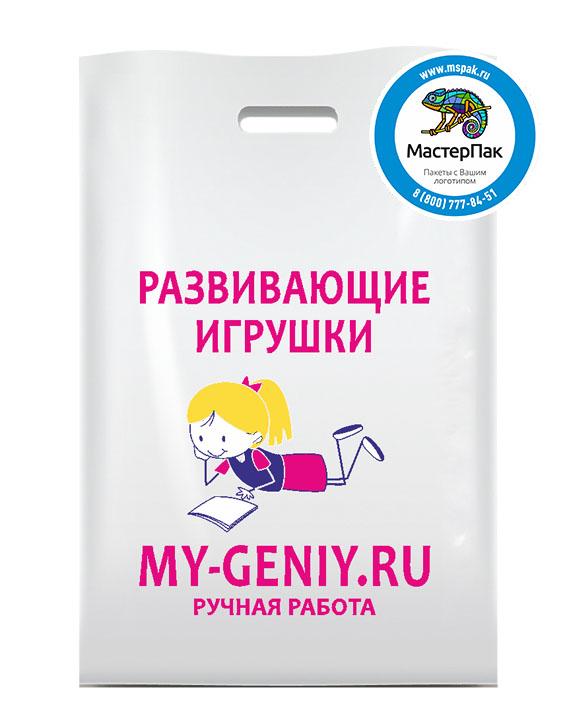 ПВД пакет, 30*40, толщина 70 мкм, с вырубной ручкой и логотипом Развивающие игрушки