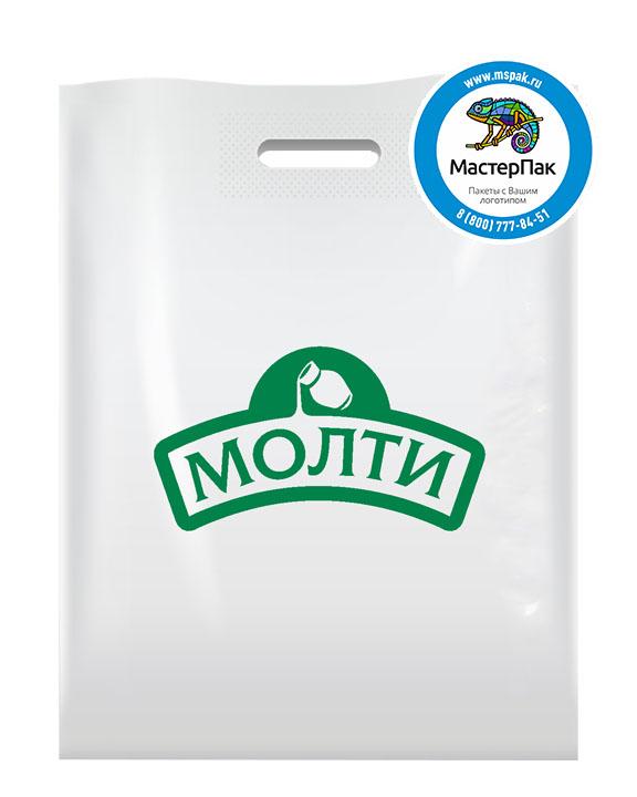 ПВД пакет, 38*50, толщина 70 мкм, с вырубной ручкой и логотипом МОЛТИ