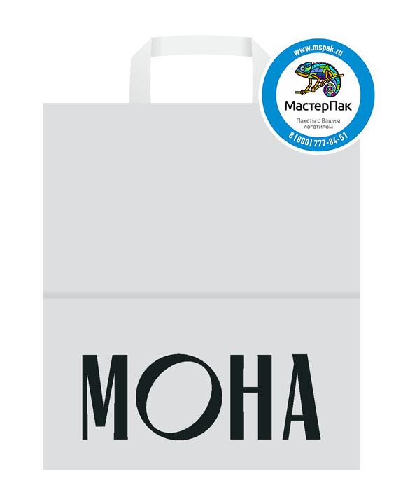 Пакет крафтовый, 45*15*35, 100 гр., плоские ручки, с логотипом МОНА