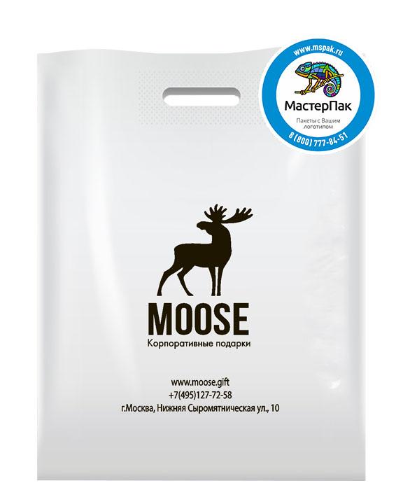 ПВД пакет, 38*50, толщина 70 мкм, с вырубной ручкой и логотипом MOOSE