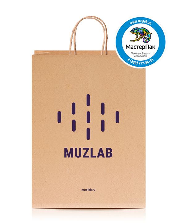 Пакет крафтовый, 26*14*35, 80 гр., крученые ручки, с логотипом MUZLAB