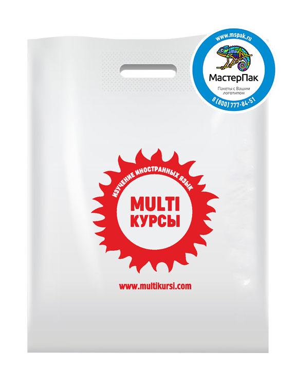 ПВД пакет, 30*40, толщина 70 мкм, с вырубной ручкой и логотипом MULTI курсы