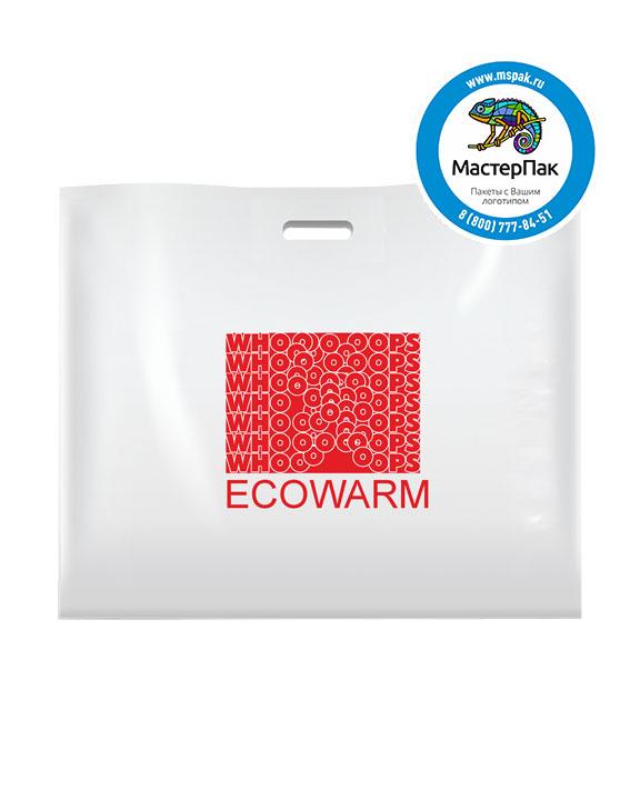 ПВД пакет, 70*50, толщина 70 мкм, с вырубной ручкой и логотипом ECOWARM