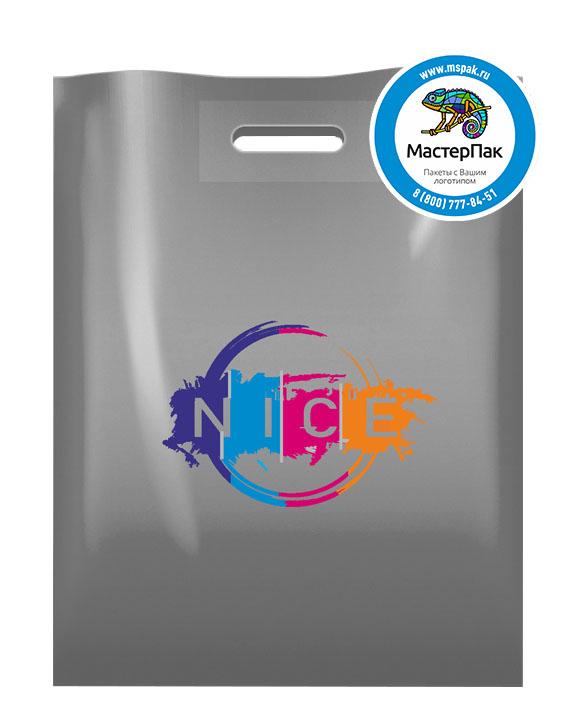 Пакет ПВД с логотипом NICE, 70 мкм, 30*40, серебро