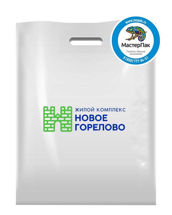 Пакет ПВД с логотипом Новое Горелово, Новогорелово, 70 мкм,  38*50, белый