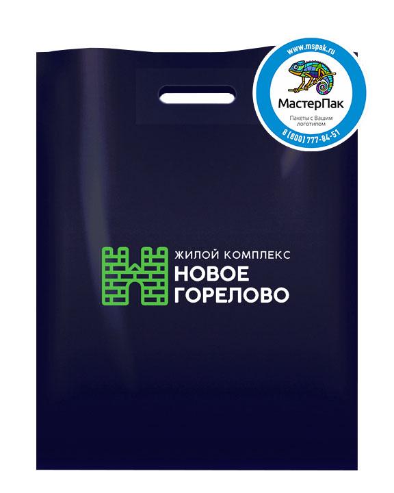 Пакет ПВД с логотипом Новое Горелово, Новогорелово, 70 мкм, 30*40, чёрный