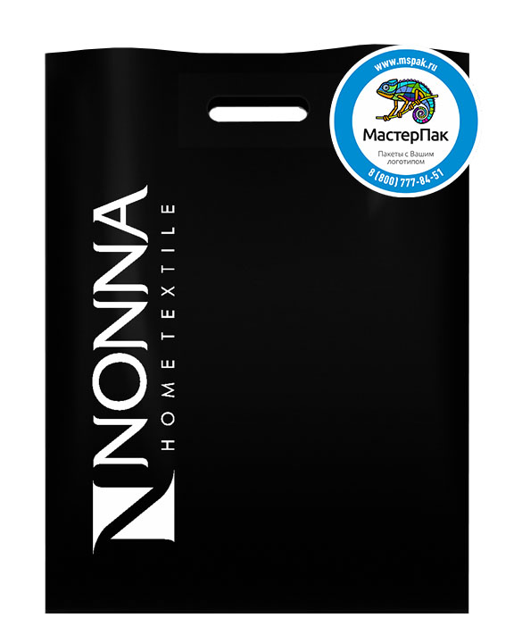 Пакет ПВД с логотипом NONNA, Москва, 70 мкм, 30*40, чёрный