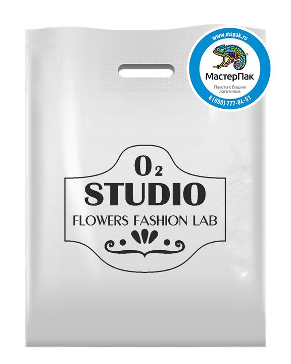 Пакет ПВД с логотипом O2 Studio, 70 мкм, 30*40, белый