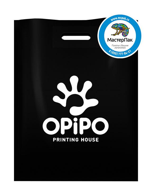 Пакет ПВД с логотипом OPIPO, Архангельск, 70 мкм, 30*40, чёрный
