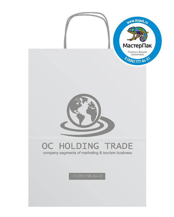 Пакет крафтовый с логотипом OC Holding Trade, Москва, 26*14*35, 80 гр., крученые ручки