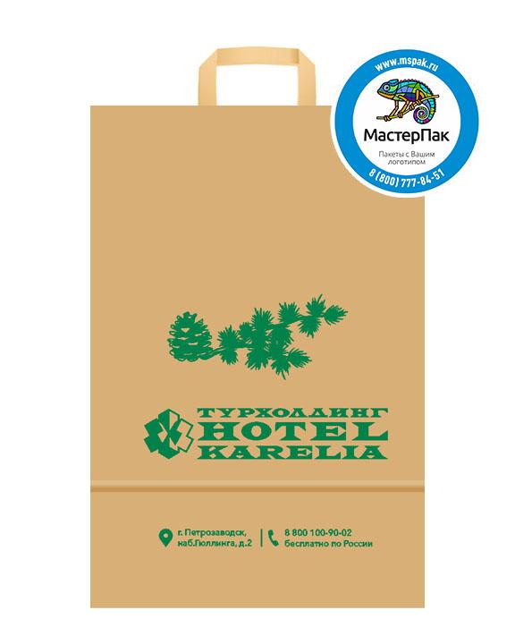 Пакет крафтовый с логотипом Турхолдинг Hotel Karelia, Петрозаводск,  24*11*32, 80 гр., плоские ручки