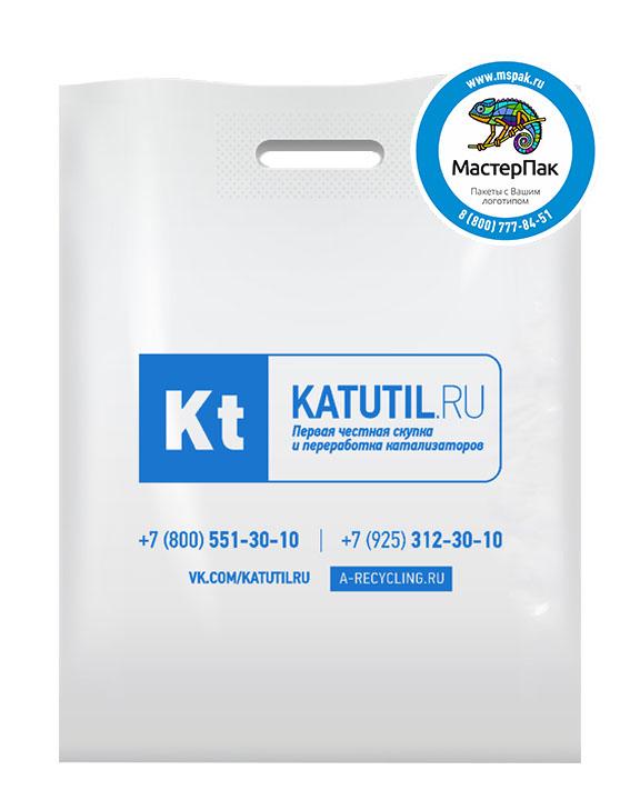 Пакет ПВД с логотипом Katutil, Москва, 70 мкм, 38*50, белый