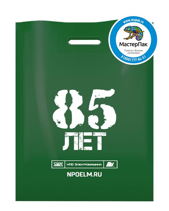 Пакет ПВД с логотипом НПО Электромашина, 85 лет, Челябинск, 70 мкм, 38*50, зелёный