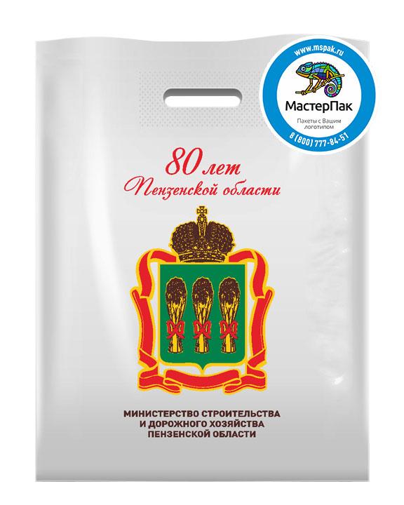Пакет ПВД с логотипом 80 лет Пензенской области, Пенза, 70 мкм, 30*40, белый