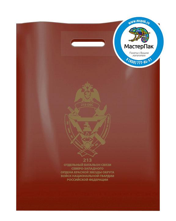 Пакет ПВД с логотипом 213 отдельный батальон связи, Санкт-Петербург, 70 мкм, 38*50, бордовый