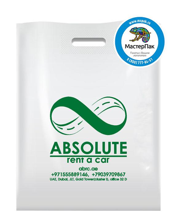 Пакет ПВД с логотипом ABSOLUTE, Москва, 70 мкм, 38*50, белый