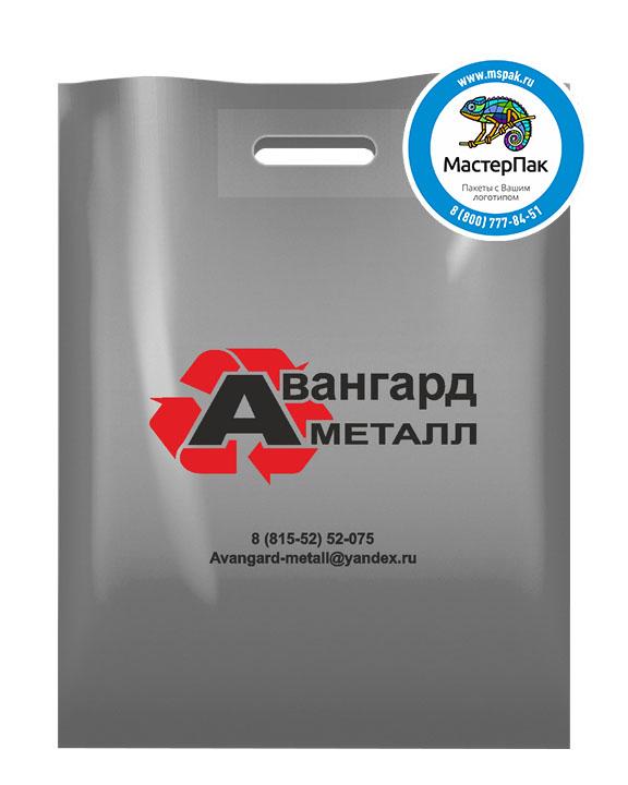 Пакет ПВД с логотипом Авангард Металл, Оленегорск, 70 мкм, 38*50, серебро