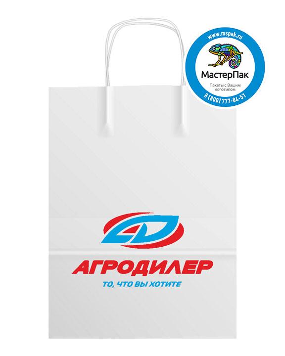 Пакет крафтовый с логотипом АГРОДИЛЕР, Москва, 24*11*32 , 80 гр., крученые ручки