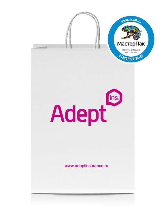 Пакет крафтовый с логотипом ADEPT, Санкт-Петербург, 29*16*40 , 80 гр., крученые ручки