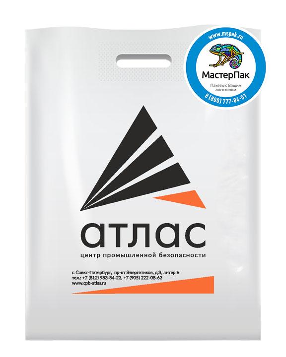 Пакет из ПВД с логотипом Атлас, Санкт-Петербург, 70 мкм, 30*40, белый