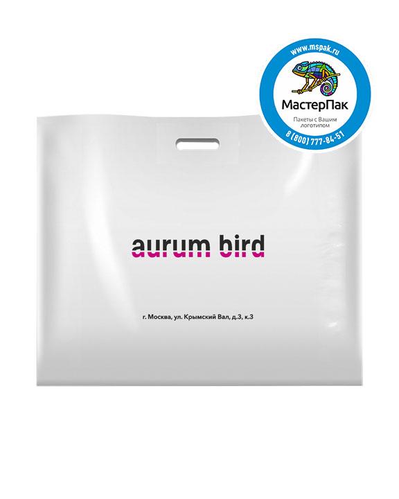 Пакет из ПВД с логотипом AURUM BIRD, Москва, 70 мкм, 60*50, белый