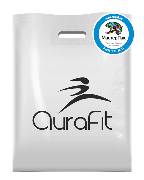 Пакет из ПВД с логотипом AuraFit, Мытищи, 70 мкм, 30*40, белый