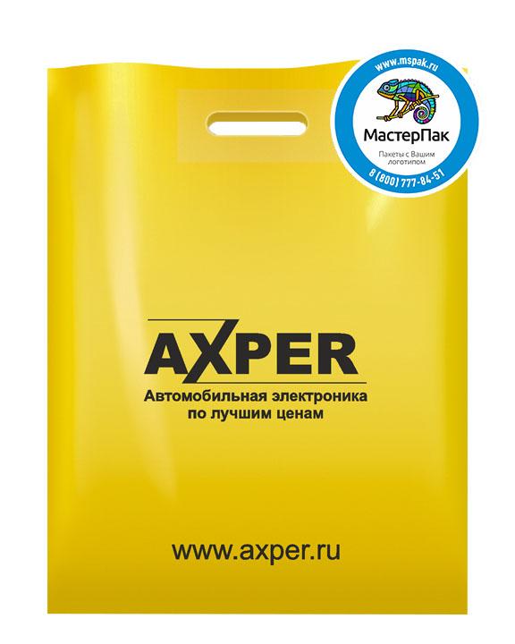 Пакет из ПВД с логотипом AXPER, Санкт-Петербург, 70 мкм, 38*50, жёлтый