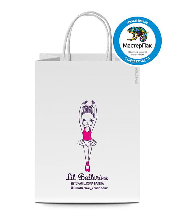Пакет крафтовый с логотипом Lil Ballerine, крученые ручки, 22*12*25, Москва, 80 гр.