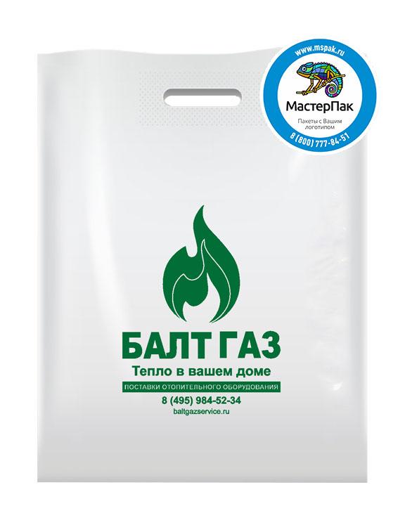 Пакет из ПВД с логотипом Балт Газ, Люберцы, 70 мкм, 38*50, белый
