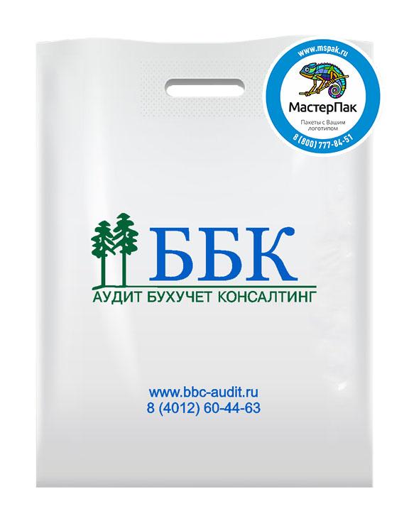 Пакет из ПВД с логотипом ББК, Калининград, 70 мкм, 30*40, белый