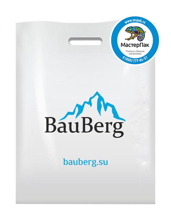 Пакет из ПВД с логотипом BauBerg, Санкт-Петербург, 70 мкм, 36*45, белый
