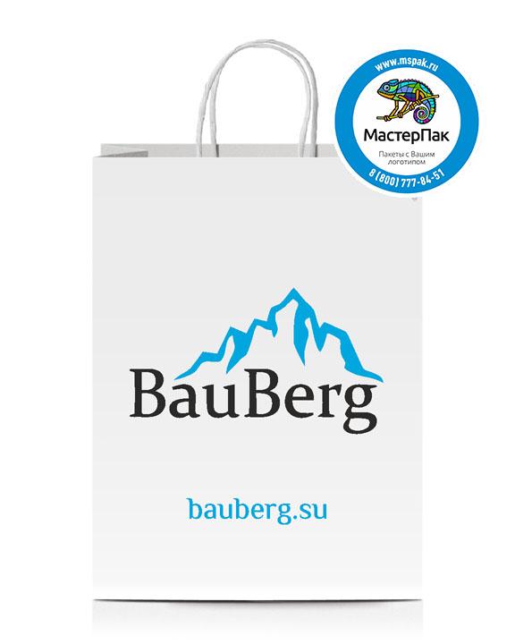 Пакет крафтовый с логотипом BauBerg, крученые ручки, 37*32*20, Санкт-Петербург, 80 гр.