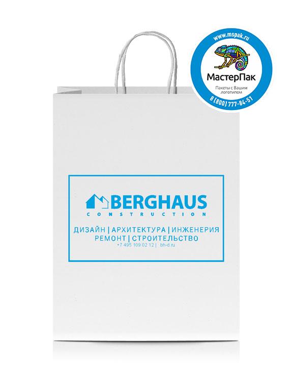 Пакет крафтовый с логотипом Berghaus, крученые ручки, 37*32*20, Москва, 80 гр.