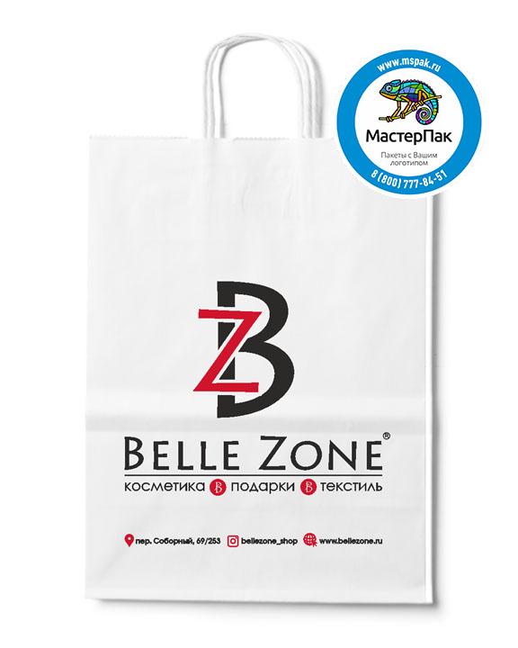 Пакет крафтовый с логотипом Belle Zone, крученые ручки, 26*14*35 , 80 гр.
