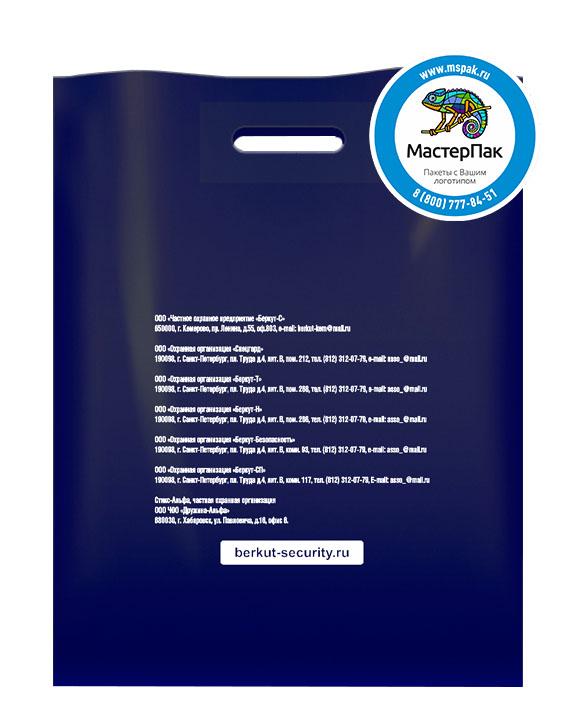 Пакет из ПВД с логотипом Беркут, Санкт-Петербург, 70 мкм, 38*50, синий