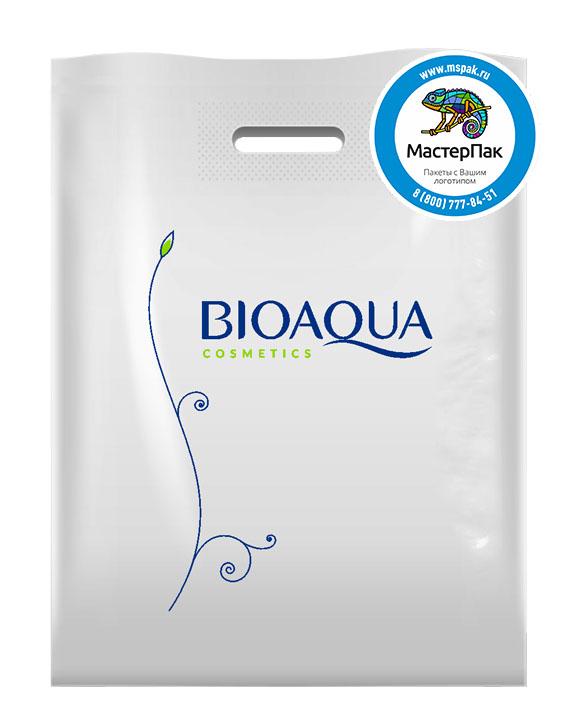 Пакет из ПВД с логотипом BIOAQUA, Москва, 70 мкм, 30*40, белый