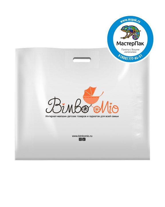 Пакет из ПВД с логотипом BimboMio, Мытищи, 70 мкм, 60*50, белый